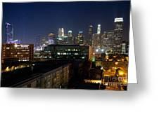 Los Angeles Skyline At Dusk Greeting Card