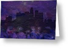 Los Angeles Skyline Brick Wall Mural Greeting Card
