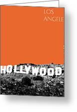 Los Angeles Skyline Hollywood - Coral Greeting Card