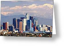 Los Angeles Skyline With Mountains In Background Greeting Card