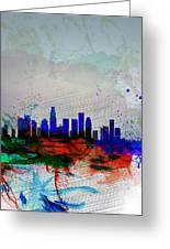 Los Angeles  Watercolor Skyline 1 Greeting Card