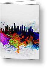 Los Angeles  Watercolor Skyline 2 Greeting Card