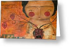 Los Corazones De Mi Arbol Greeting Card by Thelma Lugo