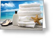 Lotion  Towels And Sandals With Ocean Scene Greeting Card by Sandra Cunningham
