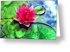 Lotus Blossom And Cloud Reflection Greeting Card