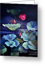 Lotus On Dark Water Greeting Card