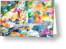 Lou Reed Playing The Guitar - Watercolor Portrait Greeting Card