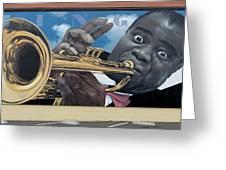 Louie Armstrong Mural In Eureka Greeting Card