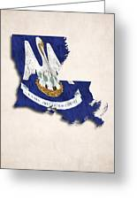 Louisiana Map Art With Flag Design Greeting Card