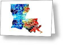 Louisiana Map - State Maps By Sharon Cummings Greeting Card