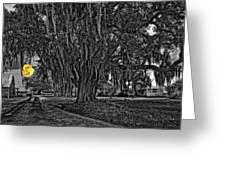 Louisiana Moon Rising Monochrome 2 Greeting Card