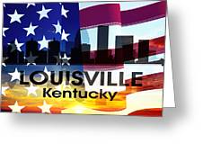 Louisville Ky Patriotic Large Cityscape Greeting Card