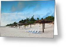 Lounge Chairs And Parasol On Pink Sands Greeting Card