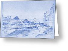 Louvre And Paris Skyline Blueprint Greeting Card
