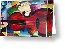 Love And Music Triptych Greeting Card