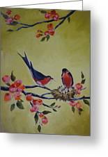 Love Birds Nesting Greeting Card by Kelley Smith