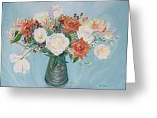 Love Bouquet In White And Orange Greeting Card
