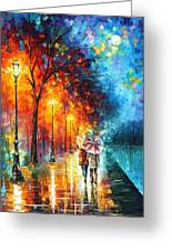 Love By The Lake - Palette Knife Oil Painting On Canvas By Leonid Afremov Greeting Card