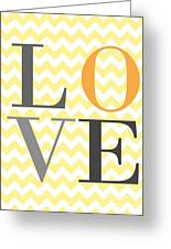Love Chevron Yellow Greeting Card