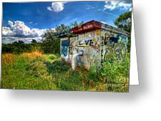 Love Graffiti Covered Building In Field Greeting Card