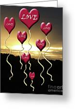 Love Is In The Air Golden Silhouette Greeting Card