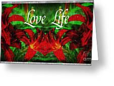 Love Life Mirrored Lilies Greeting Card