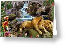 Love Lion Waterfall Greeting Card