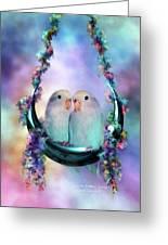 Love On A Moon Swing Greeting Card by Carol Cavalaris