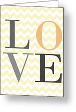 Love On Chevron Peach Greeting Card