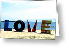 Love On The Beach Found Art Outer Banks Greeting Card