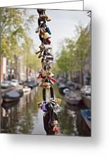 Love Padlocks In Amsterdam Greeting Card