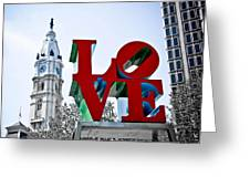 Love Park And City Hall Greeting Card
