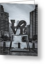 Love Park Bw Greeting Card by Susan Candelario