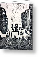 Love Park In Black And White Greeting Card by Marita McVeigh