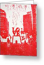 Love Park In Red Greeting Card