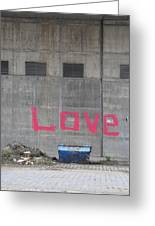 Love - Pink Painting On Grey Wall Greeting Card