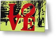 Love - Red On Lime Greeting Card