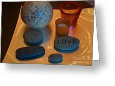 Love Relax Pray Stone Still Life Greeting Card
