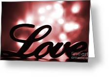 Love Sign With Red Sparkle Greeting Card