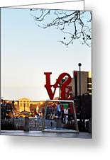 Love Statue And The Art Museum Greeting Card