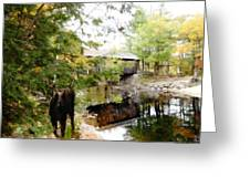Lovejoy Covered Bridge And Moose Greeting Card