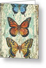 Lovely Butterfly Trio On Tin Tile Greeting Card