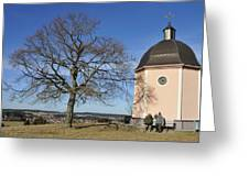 Lovely Little Chapel And A Tree Greeting Card by Matthias Hauser