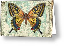 Lovely Yellow Butterfly On Tin Tile Greeting Card