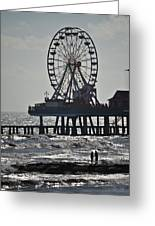 Lovers And A Surfer At Pleasure Pier Greeting Card