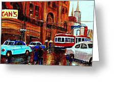 Lovers In The Rain Stroll St Catherine Street Near Morgans Department Store Vintage City Scene Art Greeting Card