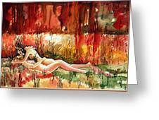 Lovers The Lady And The Boy Greeting Card by Ayan  Ghoshal