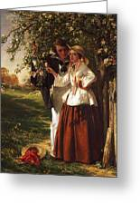 Lovers Under A Blossom Tree Greeting Card
