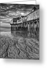 Low Tide At Orchard Beach Black And White Greeting Card by Jerry Fornarotto