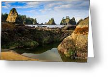 Low Tide At The Arches Greeting Card